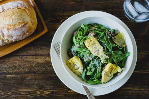 Homemade Spinach Fettucine with Creamy Artichokes and Chicken Sausage Sauce Recipe