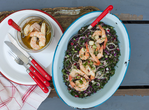 Crunchy Cucumber, Radish and Lentil Salad with Pickled Shrimp and ...