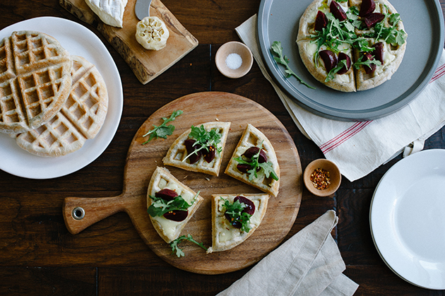 KITCHENAID Pizza Waffles with Roasted Garlic, Beets and Brie - L