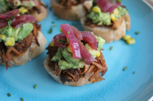 Pork Avocado Sweet Corn Crostini Pickled Onions Recipe
